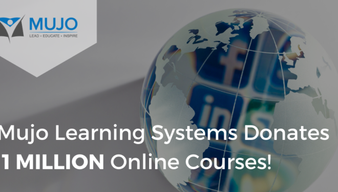 "Mujo's logo beside an image of a globe with the text ""Mujo Learning Systems Donates 1 Million Online Courses!"""